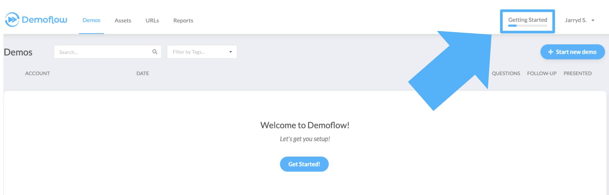 demoflow landing page